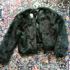 Forever 21 Faux Fur Green Jacket Size L NWT